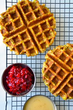 Leftover Stuffing Waffles from @justataste