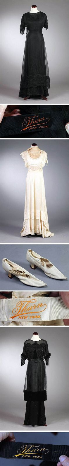 Dresses by Thurn, New York. Top: 1912. Middle: 1910. Bottom: 1914. Belonged to the Kenefick and Graves families, who lived in Buffalo, New York at the turn of the century. Sloans & Kenyon/Artfact