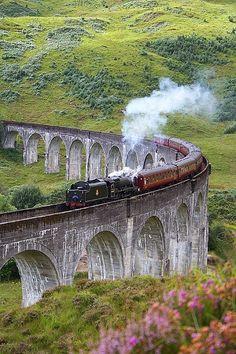 Glenfinnan Viaduct, Scotland (It looks like the Hogwarts Express....)