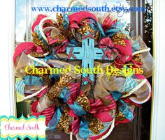 Western Cross Deco Mesh and Burlap Wreath Country by CharmedSouth, $95.00