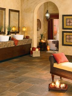 Serengeti Slate  Porcelain Tile floor floor, stone floor, herringbon pattern, color, porcelain tile, safari sunset, mannington porcelain, bathroom, floor idea