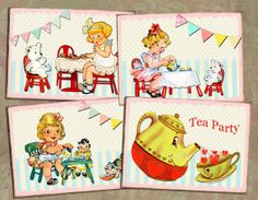 Tea Party  digital collage sheet no.15 printable by Lollipopisland, $3.75