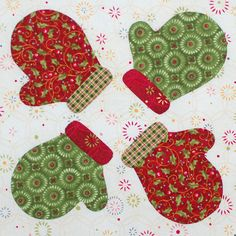 Cute mittens applique pattern,  by Erin Russek  Click thru to download a free pattern.  source:  One Piece at a Time