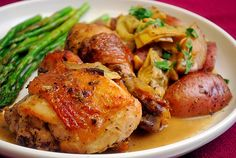 Chicken Vesuvio by joelens. Recipe by Giada de Laurentis: A one pot wonder. Imagine crispy chicken with potatoes cooked with oregano, thyme, garlic and white wine. Add in some artichokes and finish it off with a buttery sauce that captures every bit of flavor cooked in the pot. #Chicken #One_Pot
