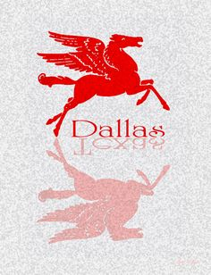 Graphic of Dallas' iconic Flying Red Horse: Flying over Dallas Texas