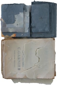 Nan Swid, Title: Quiet Wall, Materials: Disassembled Book Paper and Encaustic Wax