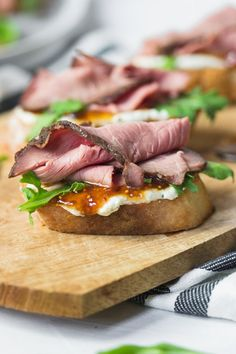 Roast Beef, Herb Cream Cheese, and Fig Jam Crostini's - Danilicious
