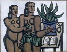 The two women in blue vase - Fernand Leger