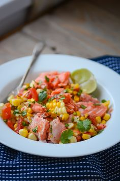 Grilled salmon and corn salad.