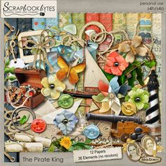 Digital Scrapbook Kit, The Pirate King Kit by Silvia Romeo
