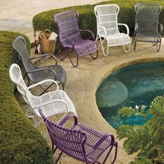 From www.grandinroad.com  Love the purple and gray chairs.  Look very comfy!  Rizza Outdoor Seating Collection