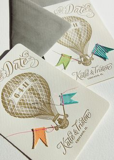 Cute! Hot air balloon save the dates