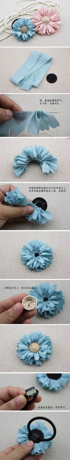 hair flowers, diy hair, fabric flowers, hair ties, hair bows, hair accessories, flower tutorial, flower hair, ribbon flower