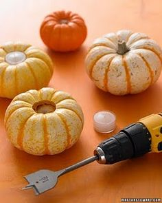 Mini pumpkin tea light holders.