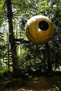 Free Spirit Spheres, British Colombia Canada.  Talk about a different kind of hotel room.