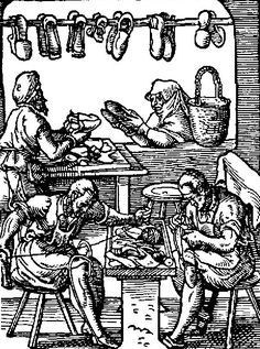 Footwear of the Middle Ages:1548 woodcut of a shoemaker's shop