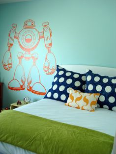 Robots and polka dots in a boys room?  Yes, please!