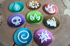 Skylanders Inspired Fondant Cupcake Cookie - Here are the 8 Elements and 8 color choices for Portals of Power.