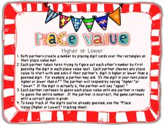 Place-Value Freebie Partner Game!