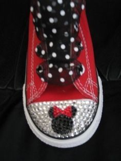 FREE ship Custom converse bling Minnie Mickey disney rhinestone swarovski crystals  red pink black. $95.00, via Etsy.