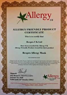 Respro® Allergy™ Mask received Allergy Friendly Product Award by @AllergyUK1 http://respro.com/store/product/respro-allergy-mask