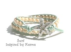 Double Leather Wrap Bracelet- Surf - $28.00 - Handmade Jewelry, Crafts and Unique Gifts by Inspired by Karma #leatherbracelet #leatherwrapbracelet #wrapbracelet #beachjewelry #starfish #uniquegifts #handmade #handmadejewelry