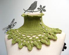 Lime Green Crochet Neckwarmer / Capelet with turtleneck by ixela