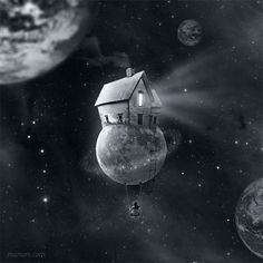 houses, moon, inspiration, little homes, dreams, writing prompts, photo manipulation, the dreamers, planet earth