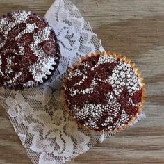 Cover a chocolate cupcake with lace and sprinkle with powdered sugar