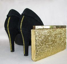 Glitter Shoes and Clutch.