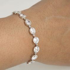 Wedding Bracelet Wedding Jewelry Bridal Bracelet Clear Cubic Zirconia Bracelet
