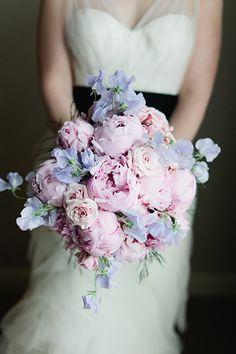 wedding ideas, chiffon wedding dresses, lavender weddings, wedding bouquets, bridal bouquet, pink, flowers, sweet peas, peonies
