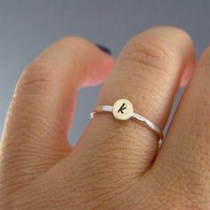 Custom Initial Ring Sterling Silver Brass Or by LittleGreenRoom, $15.00