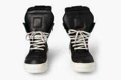 Rick Owens Panelled Leather High-Top Sneakers