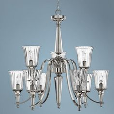 Chandon Collection Sterling Finish Nine Light Chandelier -