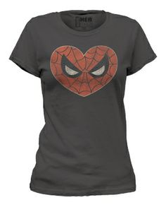 Spider-Man Spidey Heart Marvel Women's Charcoal T-Shirt