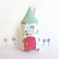 Tooth Fairy Pillow, Cottage, Children, Toy, Open The Door, Stuffed Toy, Keepsake, Mint, Floral. via Etsy.