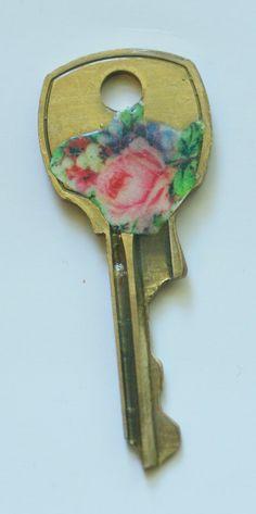 Pink Floral Brass Key
