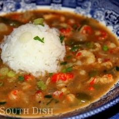 Crawfish Etouffée  Crawfish, simmered in a very simple butter roux, seasoned with a basic trinity, garlic, stock and Cajun seasoning, and finished with a little fresh parsley and green onion. Serve over hot rice with fresh French bread for dipping.
