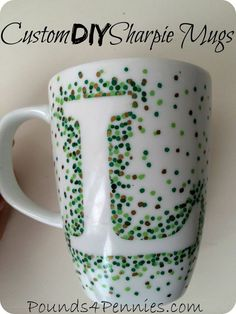 Easiest way to make DIY Custom Sharpie Mugs - Pounds4Pennies. Does not get easier than this to make personalized Sharpie mugs. Great handmade mothers day gift or handmade Father's Day gifts.