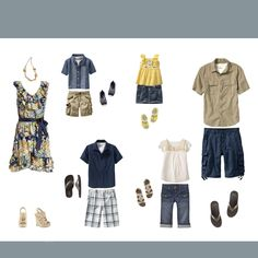 summer yellow blue navy color scheme for family photos kids pics spring casual sandals flipflops What to wear