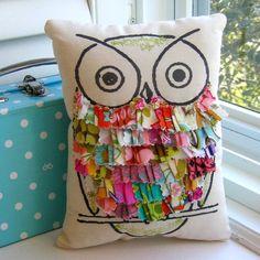 fabric scrap owl pillow