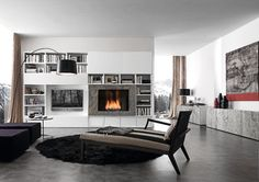modern fireplaces, interior, living rooms, wall units, tv wall, fireplace design, family rooms, media room, live room
