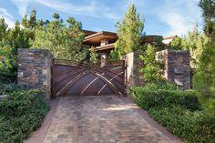 Steel panel gates - contemporary estate