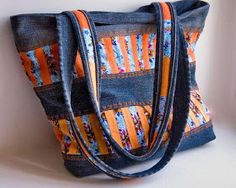 denim and orange fabric patchwork stripes