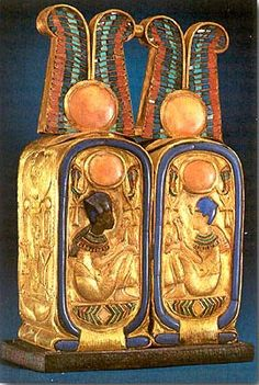 Small, gold perfume box found in the tomb of Tutankhamun