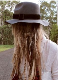 hats, messy hair, long hair, hat hair, braids, braided hairstyles, braid hair, boho, fall beauty