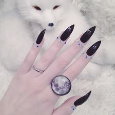 I'm mooning you! ❄️❄️ Loving my sapphire cuticle jewels! Moon ring is a must to compliment the moon tan haha...ring is from @worship13 #jewelry #nails #moon #witch #fashion #bitchimbedazzled (PS, my little snow fox in the background is FAKE!)