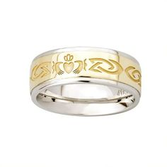 """Mens Claddagh Wedding Band - Silver and 10k Gold - Sizes 8-14  Mixing silver and gold together, the men's Claddagh wedding band features the Claddagh symbol and Celtic Knots. Measuring approximately 5/16"""" wide, the design on band is continuous all the way around. Half sizes are available for you to find the perfect fit.  Price : $399.95 http://www.biddymurphy.com/Mens-Claddagh-Wedding-Band-Silver/dp/B00KSAGRFE"""