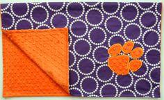 Clemson Minky Dot Baby Blanket on Etsy, $38.00